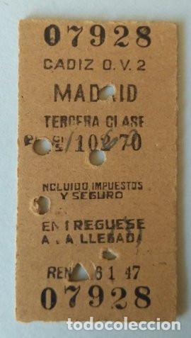 BILLETE RENFE CADIZ-MADRID TERCERA CLASE - 1948 (Coleccionismo - Billetes de Transporte)