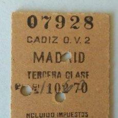 Coleccionismo Billetes de transporte: BILLETE RENFE CADIZ-MADRID TERCERA CLASE - 1948. Lote 126344435