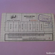 Coleccionismo Billetes de transporte: BILLETE DE RENFE. MADRID - MALAGA. 1969.. Lote 127566307