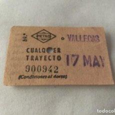 Coleccionismo Billetes de transporte: BILLETE DE METRO, MADRID, VALLECAS, AÑOS 50?. Lote 128038955