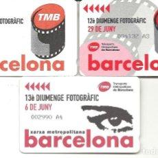 Coleccionismo Billetes de transporte: TMB.3 TARJETAS DOMINGO FOTOGRAFICO NIKON.2002,2003,2004. Lote 128465495