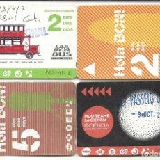 Coleccionismo Billetes de transporte: TMB..4 TARJETAS MULTIVIAJES.2,4 ,5 DIAS. Lote 128466187