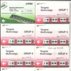 Coleccionismo Billetes de transporte: 8 TARJETAS FERROCARRILS GENERALITAT CATALUNYA.UNA CREMALLERA MONTSERRAT. Lote 128466479