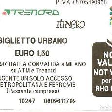 Coleccionismo Billetes de transporte: BILLETE TRANSPORTE, MILÁN-ITALIA, BILLETE URBANO. Lote 128665015