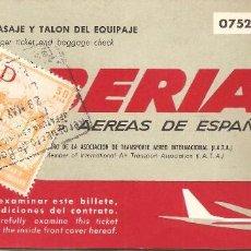 Coleccionismo Billetes de transporte: BILLETE AVIÓN, IBERIA, MADRID-VIENA-MADRID, 1969, CON TIMBRE FISCAL, REVERSO PUBLICIDAD IBERIA. Lote 128804091