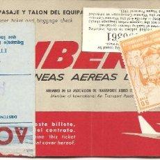 Coleccionismo Billetes de transporte: BILLETE AVIÓN, IBERIA, 1970, CON TIMBRE FISCAL, REVERSO PUBLICIDAD CERVEZA SAN MIGUEL. Lote 128804683