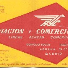 Coleccionismo Billetes de transporte: BILLETE AVIÓN, AVIACO-AVIACIÓN Y COMERCIO, 1957,. Lote 128806595