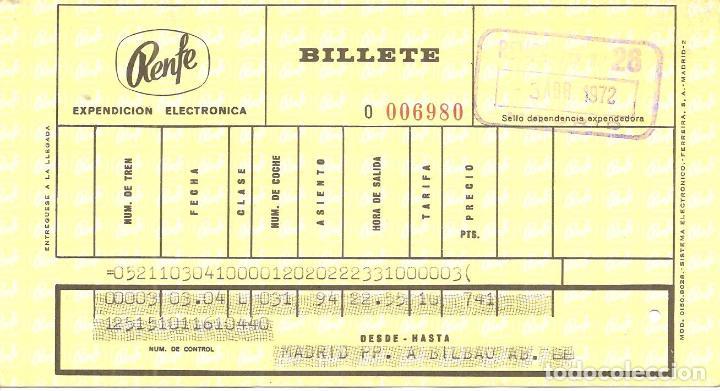 BILLETE TREN, RENFE, 1972, DE MADRID A BILBAO (Coleccionismo - Billetes de Transporte)