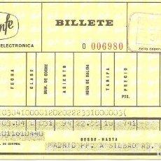 Coleccionismo Billetes de transporte: BILLETE TREN, RENFE, 1972, DE MADRID A BILBAO. Lote 128900387