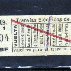 Coleccionismo Billetes de transporte: VIGO-MUY BONITO BILLETE DE TRANVIAS ELECTRICOS DE VIGO 10 CTS. AÑOS 20 MUCHOS RECORRIDOS.. Lote 128994767