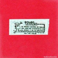 Coleccionismo Billetes de transporte: VIGO-BILLETE DE TRANVIAS ELECTRICOS DE VIGO 50 CTS.CAPICUA Y CON PUBLICIDAD AL DORSO MUY CURIOSA.. Lote 129002187