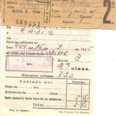 Coleccionismo Billetes de transporte: BILLETE TRANSPORTE, RENFE, TREN MADRID A CÁDIZ, 1952, . Lote 129103191