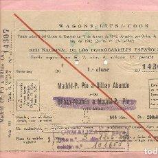 Coleccionismo Billetes de transporte: BILLETE TRANSPORTE, RENFE, DE MADRID A BILBAO, 1957, EXPEDIDO POR VIAJES MARSANS. Lote 129103863