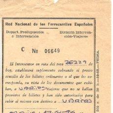 Coleccionismo Billetes de transporte: BILLETE TRANSPORTE, RENFE, SUPLEMENTO, EXPEDIDO EN ORDUÑA-VIZCAYA. Lote 129104123