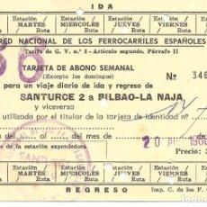 Coleccionismo Billetes de transporte: BILLETE TRANSPORTE, RENFE, LINEA SANTURCE A BILBAO, ABONO SEMANAL, 1966. Lote 129105343