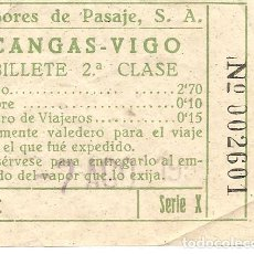 Coleccionismo Billetes de transporte: BILLETE DE TRANSPORTE, VAPORES DE PASAJE, DE CANGAS A VIGO, 2ª CLASE, AÑOS 50. Lote 129301287