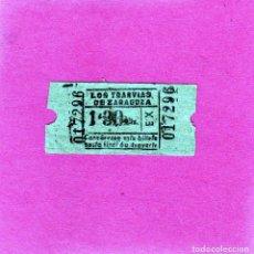 Coleccionismo Billetes de transporte: ZARAGOZA BILLETE ANTIGUO DE TRANVIAS DE ZARAGOZA VALOR 1,30 PTAS.CARTULINA MARRON. Lote 129387739