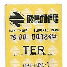 Coleccionismo Billetes de transporte: RENFE. BILLETE TREN ANTIGUO. GRANADA-GUADIX. AÑO 1976.. Lote 129627583
