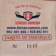 Coleccionismo Billetes de transporte: BILLETE BARCO LINEAS ROMERO. Lote 130044207