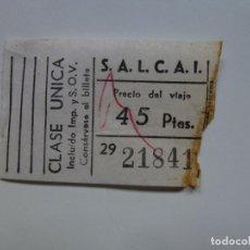 Coleccionismo Billetes de transporte: TICKET DE GUAGUA AUTOBÚS SALCAI DE GRAN CANARIA. . Lote 130502434