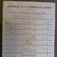 Coleccionismo Billetes de transporte: TARJETA DE LA COMPAÑÍA DE LOS FERROCARRILES ECONÓMICOS DE ASTURIAS 1955. Lote 130911600