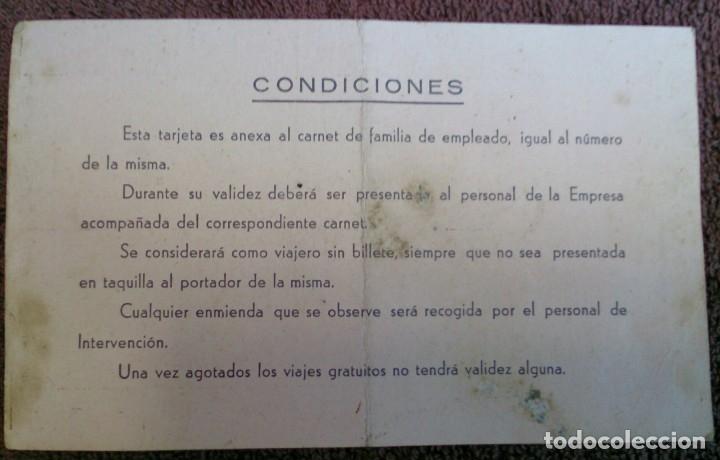 Coleccionismo Billetes de transporte: Tarjeta de la Compañía de Los Ferrocarriles Económicos de Asturias 1955 - Foto 2 - 130911600