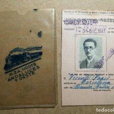 Coleccionismo Billetes de transporte: COMPAÑIA DE FERROCARRILES MADRID ZARAGOZA ALICANTE - TARJETA IDENTIDAD--TORREDEMBARRA TARRAGONA 1940. Lote 131108436