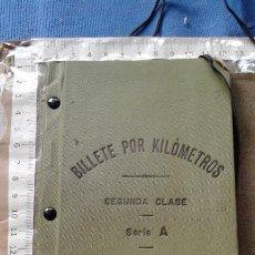 Coleccionismo Billetes de transporte: FERROCARRILES ESPAÑOLES - BILLETE POR KILOMETROS - SEGUNDA CLASE - SERIE A - 2000 KILOMETROS - 1912. Lote 131142160