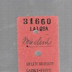 Coleccionismo Billetes de transporte: BILLETE DE FERROCARRIL. LA LOSA A MADRID. 28/12/1957. VER. Lote 131479318