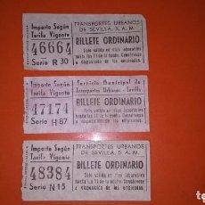 Coleccionismo Billetes de transporte: ANTIGUOS BILLETES TRANSPORTE SEVILLA CAPICUA. Lote 131706766