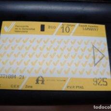 Coleccionismo Billetes de transporte: TARJETA 10 VIAJES 925 PESETAS AÑO 1997 VALENCIA FERROCARRILES GENERALITAT VALENCIANA. Lote 132076566