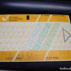 Coleccionismo Billetes de transporte: TARJETA 1 VIAJE 120 PESETAS AÑO 1997 VALENCIA FERROCARRILES GENERALITAT VALENCIANA. Lote 241009000