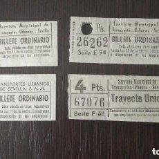 Coleccionismo Billetes de transporte: ANTIGUOS BILLETES CAPICUA TRANSPORTE SEVILLA. Lote 132180002