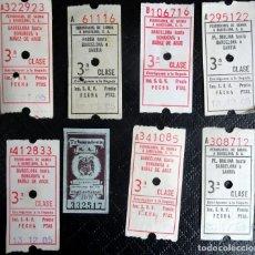 Coleccionismo Billetes de transporte: LOTE DE 7 ANTIGUOS BILLETES DE FERROCARRIL SARRIÁ, BARCELONA, UNO CAPICUA, VER FOTOS. Lote 132198222