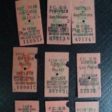 Coleccionismo Billetes de transporte: LOTE DE 9 ANTIGUOS BILLETES DE FERROCARRIL VARIOS BARCELONA, 3 CAPICUAS, VER FOTOS. Lote 132198438