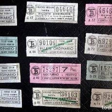 Coleccionismo Billetes de transporte: LOTE DE 12 ANTIGUOS BILLETES TB , TODOS CAPICUA, VER FOTOS. Lote 132198942
