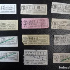 Coleccionismo Billetes de transporte: LOTE DE 11 ANTIGUOS BILLETES TB Y OTRO FERROCARRIL, TODOS CAPICUA, VER FOTOS. Lote 132199082
