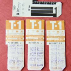 Coleccionismo Billetes de transporte: 4 TARJETAS DE TRANSPORTE T 1 T1 - TARGETA METROPOLITANA BARCELONA 88 89 - MOSCU 80 EN EL REVERSO. Lote 133020394