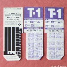 Coleccionismo Billetes de transporte: 3 TARJETAS DE TRANSPORTE T 1 T1 - TARGETA METROPOLITANA BARCELONA 86 - TRAMVIES DE BARCELONA. Lote 133020842