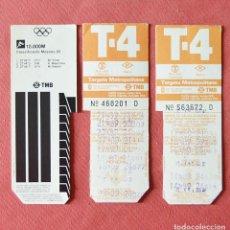 Coleccionismo Billetes de transporte: 3 TARJETAS DE TRANSPORTE T 4 T4 - TARGETA METROPOLITANA BARCELONA 89 - OLIMPIADAS MOSCU 80 REVERSO. Lote 133022606