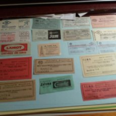 Coleccionismo Billetes de transporte: LOTE DE 18 BILLETES DE TRANSPORTE LETONA CACAOLAT,LAMOT CERVEZA DE CAVA FCMB MILITAR Y MAS. Lote 133367010