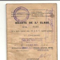 Coleccionismo Billetes de transporte: BILLETE 3ª CLASE 1925. Lote 133702098