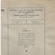 Coleccionismo Billetes de transporte: FERROCARRILES ANDALUCES .ESTATUTO Y SINDICATO OBLIGACIONISTAS. Lote 133702290