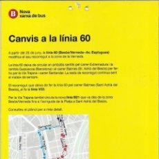 Coleccionismo Billetes de transporte: PUBLICIDAD PARADA CAMBIO LINEA 60. Lote 133702394