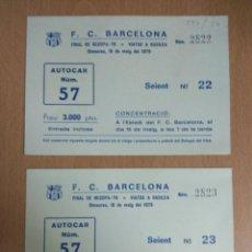 Coleccionismo Billetes de transporte: DOS BILLETES TICKET CORRELATIVAS AUTOCAR VIAJE FINAL BARÇA EN BASILEA 16 MAYO 1979. Lote 134669946