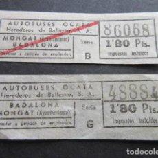 Coleccionismo Billetes de transporte: LOT 2 BILLETES CAPICUAS CAPICUA NUMEROS Y TRAYECTOS DIFERENTES AUTOBUSES OCATA BADALONA MONTGAT . Lote 135569318