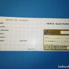 Coleccionismo Billetes de transporte: TARJETA DORADA SIN USO FERROCARRIL RENFE TREN. Lote 135624854
