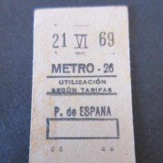 Coleccionismo Billetes de transporte: BILLETE METRO DE MADRID ESTACION P. DE ESPAÑA 1969. Lote 136465882