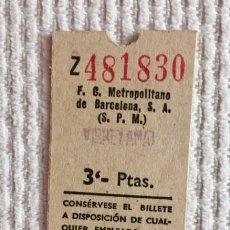 Coleccionismo Billetes de transporte: BILLETE DE METRO (FCMB) DE BARCELONA. 3 PESETAS. VIRREY AMAT. 13 ABRIL (SIN AÑO). Lote 136707406