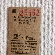 Coleccionismo Billetes de transporte: BILLETE METRO DE BARCELONA (F.C.M.B.). 2 PESETAS. Lote 136733574